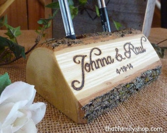 Log Guest Book Pen Holder with Custom Names or Initials, Personalized Rustic Wedding, Table Decor, Desk Organizer, Office Gift Idea