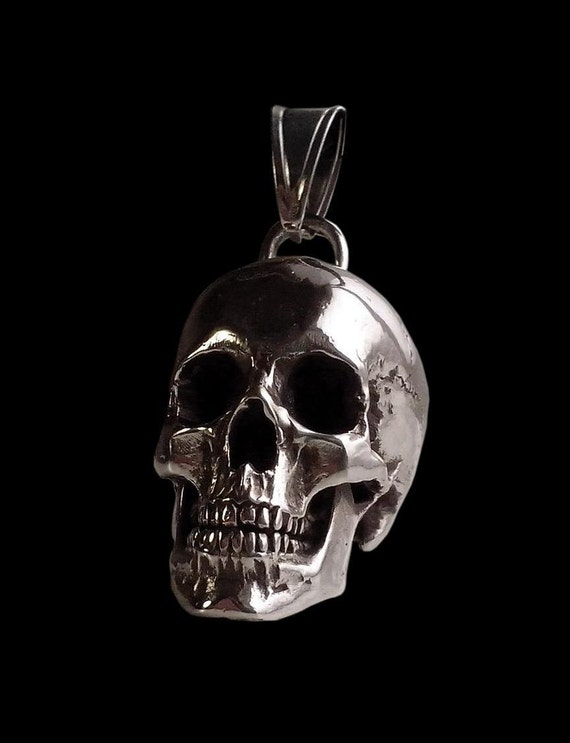 Sterling Silver Skull Pendants Skull pendant sterling silver huge and heavy skull pendant audiocablefo
