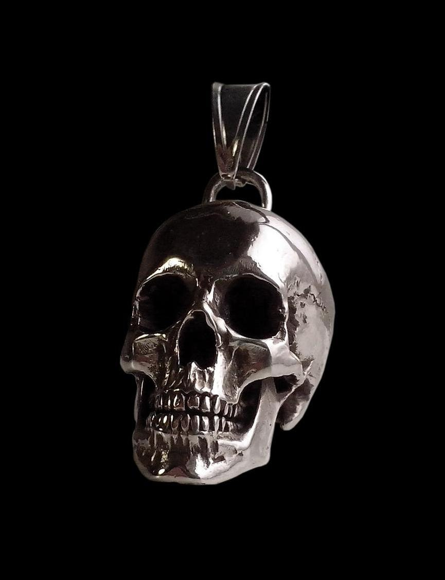 Sterling silver huge and heavy skull pendant 98 grams zoom mozeypictures Images