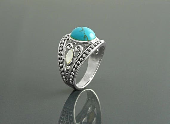 Blue Turquoise Ring, Sterling Silver, Turquoise & Mother of Pearl, Tribal Ring, Hipster Ring,Round Ring, Rope Ring, Boho jewelry, Blue Ring