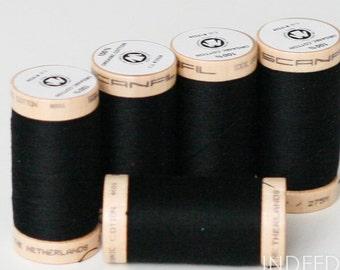 Black Onyx, Scanfil Organic Cotton Thread, 300 Yards, Color #4808