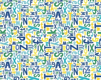 Alphabet Fabric, Fabric by the Yard, Childrens Fabric, ABC Fabric, 100% Cotton Fabric, Cotton Fabric, Quilting Fabric, Alphabet Material