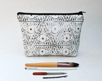 Zodiac Magic Eye Makeup Bag - Black and White Pouch - Cosmetic Bag
