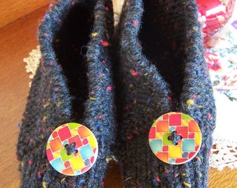 Ladies Slippers Hand Knitted