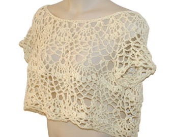 Ivory Top, Elegant Blouse, Formal Top, Dressy Top, Cotton Summer Top, Size Small to 3X, Plus Size Crochet, Wedding Clothes, White Top
