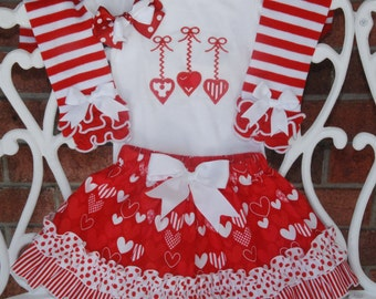 4 pc. Girls Valentine's Day Outfit! Baby/Toddler Valentine's Day Ruffle Skirt with Heart Applique Shirt and Bow! Valentine's Day Outfit