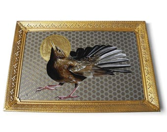 Blackbird with Halo painting - religious art - gold leaf realistic detailed bird painting - black bird art - gold ornate frame - saint icon