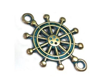 25%OFF Ship wheel Charm Connector Green Patina over Brass Greek Metal Casting Cast Pendant Sea beach Nautical Sailor Charm DIY 20mm - 2 pc
