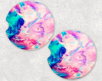 Custom Sandstone Colorful Marble Auto Car Coasters (set of2), Absorbent Sandstone Personalized Car Coasters (set of2) Gift Ideas