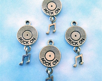 Rock On CD Charms  --4 pieces-(Antique Pewter Silver Finish)--style 862-