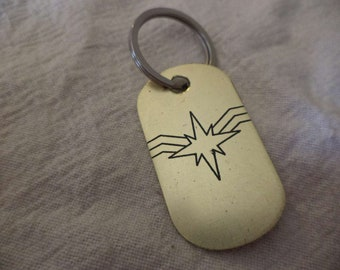Captain Marvel Etched Brass Keychain