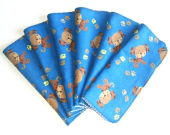 Cloth Diaper Wipes, Soft and Scrubby Baby, Blue and Brown Puppy, Family Wet