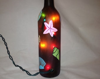 Hand Painted Recycled Wine Bottle with Seashells