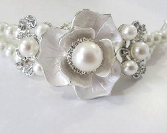 bridal Ivory Pearl Bracelet Wedding bracelet Jewelry Pearl Bridal Bracelet Swarovski Crystal   Pearl Bridal Jewelry, Pearl Bracelet,