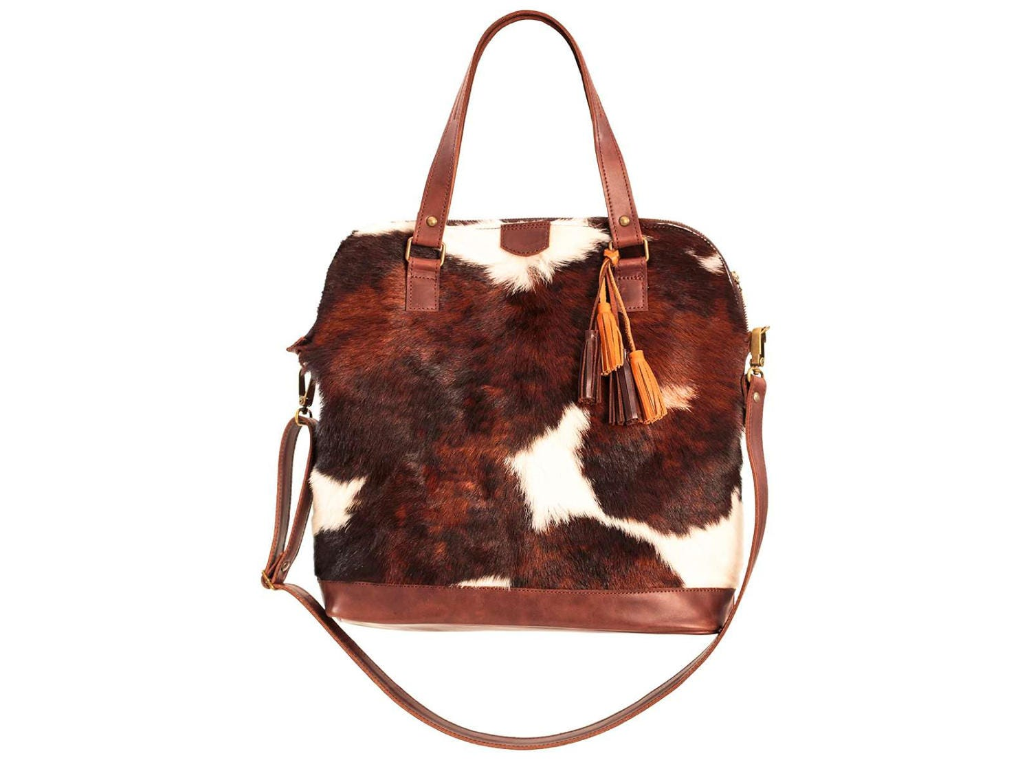 Cowhide Bag Cow Hide Purse Brown Leather Bag Cow Leather