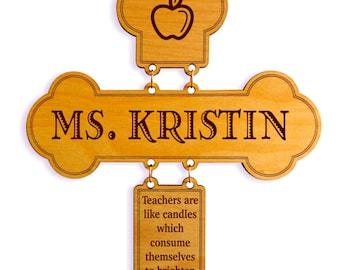 Teacher Gift - Gifts for Teacher Appreciation Personalized - End of Year Teacher Gift Ideas - Teacher Wall Cross - Teacher Thank You Gift