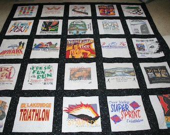 Graduation T-SHIRT QUILT from your Memorable T-shirts - marathons, triathlons, race shirts of all kinds - dispaly the memories in a quilt