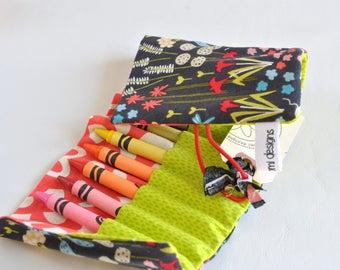 Crayon Roll Up-Crayon Holder-Art Carrier-Toddler Girl-Preschool Girl-Birthday Gift-Crayon Organizer-Bird-Flower-Coral-Easter Basket Filler