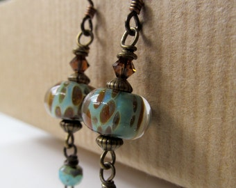 Brown Spotted Teal Lampwork and Crystals Beaded Niobium Earrings