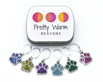 Paw Charms Stitch Holder - Beginners Crochet - Pet Purse Charm - Love to Crochet - Knit Stitch Markers - Knitting Supplies - Crocheting