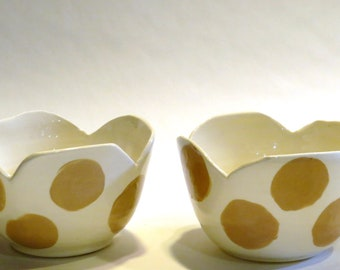 Ceramic Cereal/Berry/Ice Cream Bowls with Beige Dots  Set of Two
