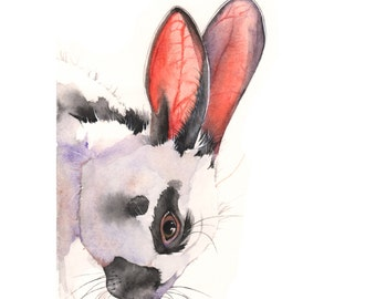 Rabbit print of watercolor painting R0715 - 5 by 7 print rabbit painting, Easter decor, print for baby, nursery art