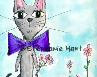 Gabe and his Flowers by Stephanie Hart, Archival print Watercolor Illustration 8x10, Cat Art