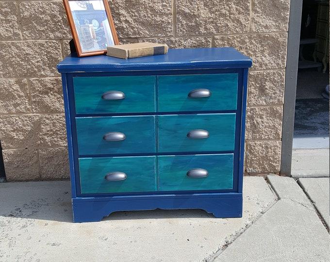 PICK UP ONLY Vintage Wood Boho Chic Dresser, chest bureau, bedroom, france, dresser, rustic, farmhouse, watercolor, eclectic
