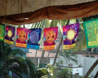 COSMIC HARMONY Prayer flag Flower of life Sun and Moon Celtic Tree of life Yoga mat Spiritual Yoga gifts decor Meditation art Bohemian decor