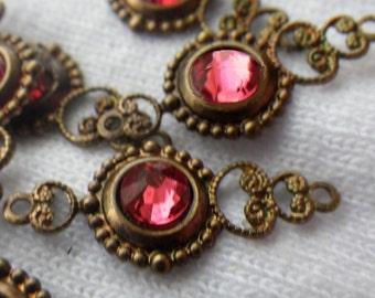 Swarovski Indian Pink Crystal Fancy Filigree Drops 6 Pcs