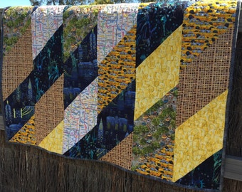 New York City Blue, Yellow, and Gray Lap Twin Quilt