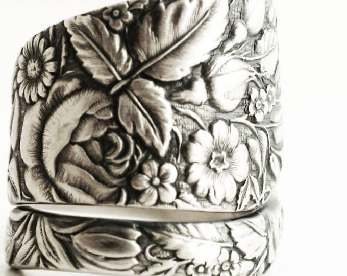 Floral Wedding Ring, Spoon Ring Sterling Silver, Antique Spoon Ring, Flower Garden, Antique Towle ca 1884 Arlington, Custom Ring Size (6248)
