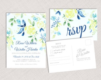 Watercolor Yellow Floral Invitation and RSVP