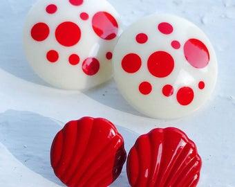 Earrings-Vintage -Retro-1980's-Red-Enamel-Circle-Pierced-Polka-Dot-White-Halloween