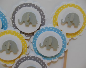 Elephant Cupcake Toppers - Blue, Gray and Yellow Polka Dots - Baby Shower Decorations - Child Birthday Decorations - Set of 6