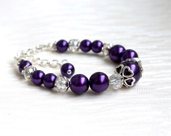 Childrens Bracelet, Dark Purple Flower Girl Bracelet, Pearl Crystal Bridesmaid Bracelet Birthday Gift, Wedding Jewellery Wedding Accessories