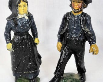Amish Man and Woman Cast Iron Figures