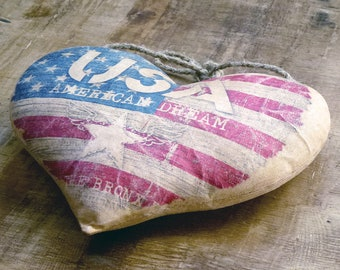 Primitive Americana fabric Heart Ornaments | Americana Hanging Hearts Decor |Handmade Gift |4th of July |