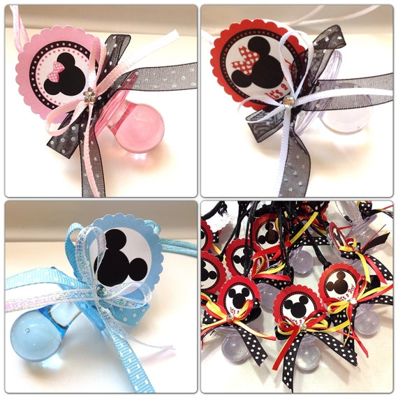 12 Minnie And Mickey Mouse Pacifiers For Baby Shower Set 12