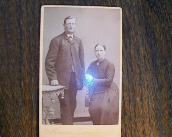 Antique 1800s Cabinet Card Photograph Husband and Wife From Norway