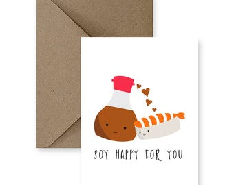Cute Wedding Card, Cute Congratulations Card, Funny Congratulations Card, Any Occasion Card, Funny Wedding Card,   Soy Happy For You