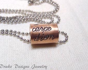 carpe diem necklace inspirational jewelry graduation gift