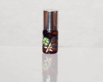 Peridot - sandalwood, vanilla, lime, rose, cardamom notes - botanical artisan perfume oils in handpainted glass bottles
