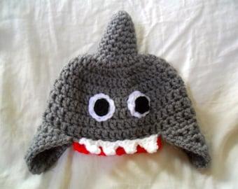 Baby Shark Hat - Baby Shark Earflap Hat - Baby Shark Ear Flap Hat - Shark Costume Hat - Baby Shark Costume Hat - 0-12 months