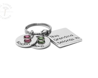 Grandma Keychain - This Grandma Belongs To - Personalized Gift - Hand Stamped - Engraved - Personalized Names - Birthstones - Grandmother