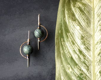 Deco Style Rose Gold Fill Drop Earrings with Jasper and Hematite