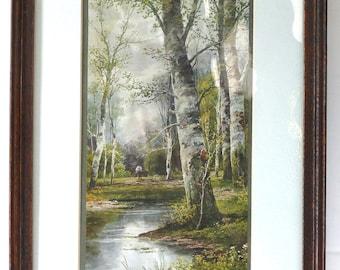 Lambert Victorian Framed Print Birches Brook Man Trees Forest Home Decor