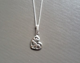 Sterling Silver 925 Open Heart Necklace