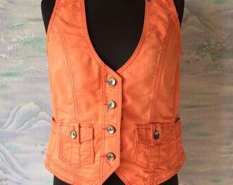 Vintage Women Elegant Orange Denim Vest Button Up Vest Large Size