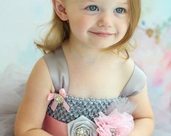Pink and Gray Baby Headband, Infant Headband, Toddler Headband, Girls Headband, Baby Headband